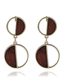 Fashion Gold Color Round Shape Pendant Decorated Hollow Out Design Earrings
