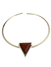 Fashion Coffee Triangle Shape Decorated Color Matching Choker