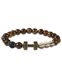 Fashion Brown+bronze Dumb-bell Decorated Color Matching Simple Bracelet