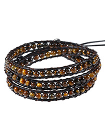 Vintage Brown Beads Decorated Color Matching Multi-layer Bracelet