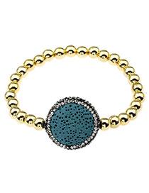 Elegant Green Round Shape Diamond Decorated Color Matching Bracelet