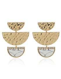 Fashion White Color Matching Decorated Geometric Shape Design Earrings