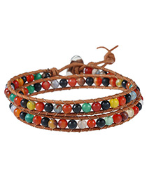 Vintage Multi-color Beads Decorated Color Matching Multi-layer Bracelet