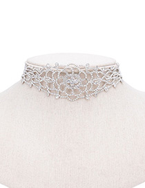 Vintage Silver Color Hollow Out Decorate Simple Short Chain Choker