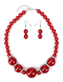 Elegant Red Round Shape Gemstone Decorated Simple Jewelry Sets