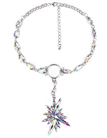 Exaggerate Multi-color Oval Shape Diamond Decorated Simple Short Necklace