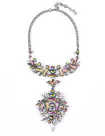 Vintage Multi-color Irregularity Diamond Decorated Simple Short Chain Necklace