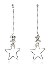 Fashion Silver Color Hollow Out Star Decorated Simple Long Chain Earrings