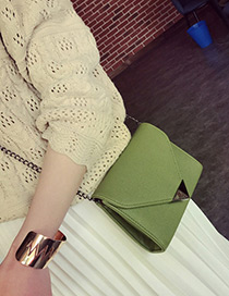 Fashion Green Metal Triangle Shape Decorated Simple Pure Color Bag