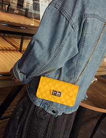 Personality Yellow Metal Lock Catch Decorated Simple Long Chain Jelly Bag