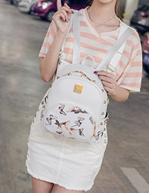 Fashion White Flower Shape Pattern Decorated Simple Backpack