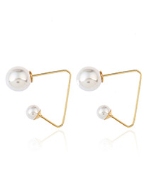 Fashion Gold Color Round Shape Decorated Simple Crooked Earrings