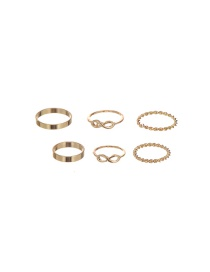 Vintage Gold Color Pure Color Decorated Simple Rings(6pcs)