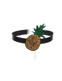 Vintage Yellow Pineapple Shape Patch Decorated Simple Choker