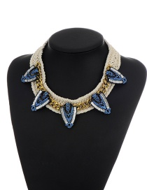 Elegant Blue Shield Shape Decorated Simple Hand-woven Necklace
