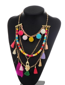 Bohemia Multi-color Fuzzy Ball Pendant Decorated Simple Mutilayer Necklace