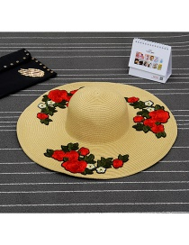 Fashion Khaki Flower Shape Patch Decorated Simple Sunbonnet