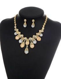 Beige Round Shape Diamond Decorated Simple Shortg Chain Jewelry Sets