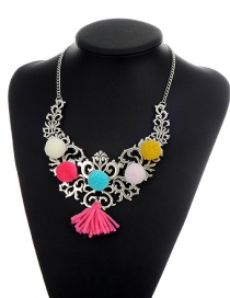 Vinatge Multi-color Tassel Pendant Decorated Sholloe Out Short Chain Necklace