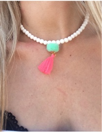 Retro Green+pink Tassel&fuzzy Ball Decorated Simple Short Chain Necklace