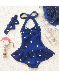 Lovely Sapphire Blue Heart Shape Pattern Decorated Simple Child Swimwear (with Hair Band)