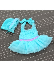 Lovely Green Pure Color Decorated Simple Child Swimwear (with Hat)
