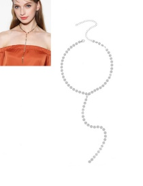 Vintage Silver Color Metal Round Shape Decorated Simple Long Chain Choker
