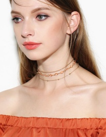 Vintage Gold Color Roudn Shape Decorated Simple Choker Sets (3pcs)