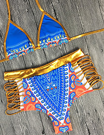 Sexy Blue Paillette Decorated Painting Flower Design Swimwear