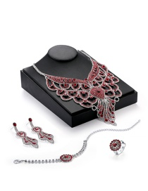 Elegant Red Waterdrop Shape Decorated Simple Tassel Jewelry Sets (4pcs)
