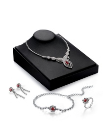 Elegant Silver Color Oval Shape Pendant Decorated Simple Jewelry Sets(4pcs)