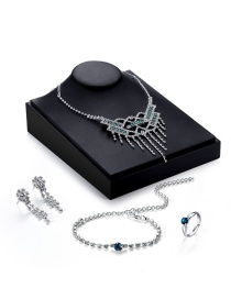 Luxury Silver Color Holow Out Decorated Simple Tassel Design Jewelry Sets (4pcs)