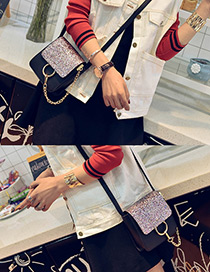 Trendy Multi-color Circular Ring Decorated Color Matching Simple Shoulder Bags