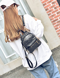 Trendy Black Paillette Decorated Pure Color Simple Backpack