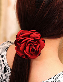 Fashion Claret Red Flower Decorated Pure Color Simple Hair Band