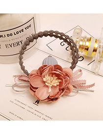 Fashion Pink Flower Decorated Color Matching Doubler Layer Hair Band