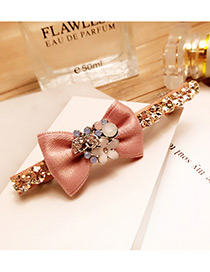 Personalized Pink Bowknot&flower Decorated Color Matching Simple Hairpin