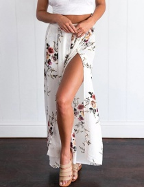 Casual White Painting Flower Pattern Decorated Split Wide Leg Pant