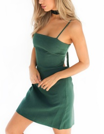 Sexy Dark Green Pure Color Decorated Backless Condole Sandbeach Dress