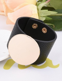 Fashion Black Round Shape Decorated Pure Colr Simple Width Bracelet