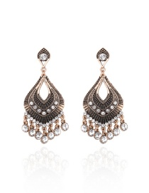 Elegant Gold Color Diamond Decorated Hollow Out Sector Shape Simple Earrings