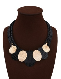 Fashion Black Paillette Decorated Multi-layer Color Matching Necklace