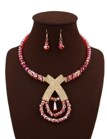 Fashion Pink Beads Decorated Pure Color Cross Design Jewelry Sets