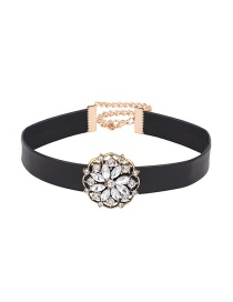 Fashion Black Round Shape Diamond Decorated Flower Shape Design Choker