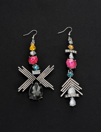 Fashion Multi-color Water Drop Diamond Decorated Color Matching Earrings