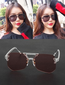 Fashion Pink Geometric Shape Decorated Transparent Design Sunglasses