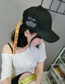 Fashion Black Letter Pattern Decorated Pure Color Simple Baseball Cap