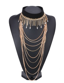 Fashion Gold Color Diamond Decorated Multi-layer Long Necklace