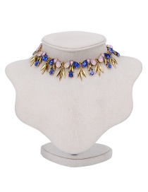 Fashion Multi-color Water Drop Diamond Decorated Color Matching Choker