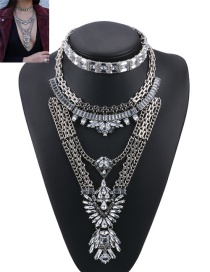 Fashion Silver Color Geometric Shape Diamond Decorated Pure Color Jewelry Sets